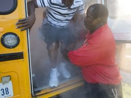 In partnership with the Houston Fire Department, thick smoke created by a smoke machine was...