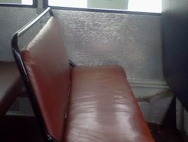 Some of the old school bus seats were found in junkyards. The oldest, seen here, is from 1953....