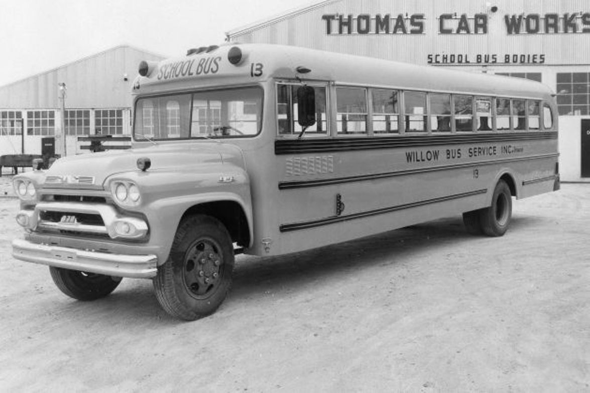 Here's a 1958 Thomas conventional model school bus.