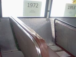 A seat from 1972. The seat back is 18.5 inches tall and 2.5 inches thick.