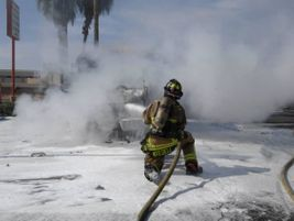 Another shot of a firefighter battling the blaze.