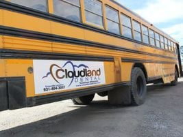 The signs adhere to an aluminum backing that affixes to the bus and can be removed without...