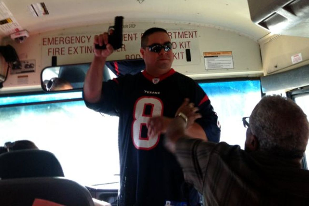 One of the drills prepared drivers and attendants to respond to an armed intruder on the bus.