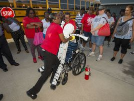 The training included specifics on how to safely evacuate students who use wheelchairs.