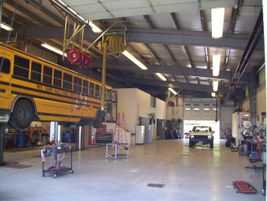 A shot from inside the garage. In addition to its own fleet, White Salmon services buses from...