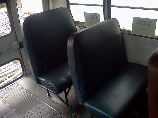 Here's a 2002 school bus seat (right) and a 2013 model. The 2002 seat back has the same...