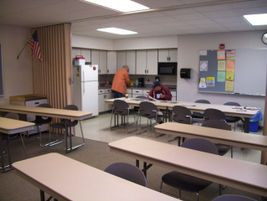 This room serves as a break area and a classroom for training.