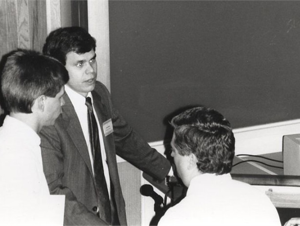 Before he became state director, Derek Graham (center) served as the project manager for North Carolina's Transportation Information Management System (TIMS) from 1988 to 1993. Here, Graham talks with school district personnel about the computerized school bus routing and management program.