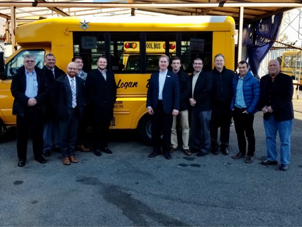 Logan Bus Co. is working with Amply Power to convert five of its diesel buses to electric. Shown here are staff members from Logan Bus Co., Amply Power, Black & Veatch, and NYSERDA. Photo courtesy Amply Power