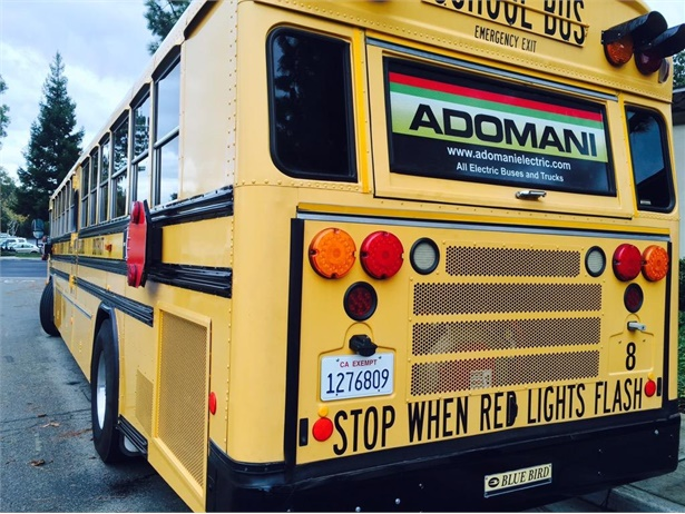 Electric vehicle manufacturer Adomani will beta test UQM Technologies' drivetrain for greater performance and efficiency. Shown here is a school bus converted from diesel to electric by Adomani.