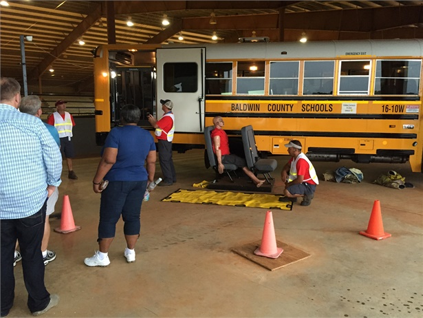 Baldwin County (Ala.) Schools' May 27 driver symposium will feature emergency evacuation training. Shown here is a training session during last year's event.