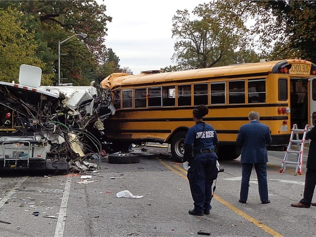 A preliminary NTSB report on the Nov. 1 school bus and transit bus crash in Baltimore found that school bus driver Glenn Chappell had a history of hypertension, diabetes, and seizures. Photo courtesy Maryland Transportation Authority Police
