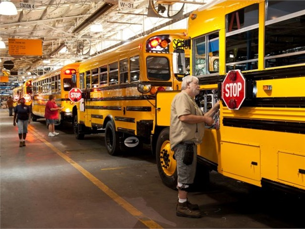 An extended seven-year, unlimited-mile Allison warranty applies to all Blue Bird buses using the Allison Transmission 2500 and 2550 Pupil Transport Series models. Seen here is Blue Bird's Fort Valley plant.