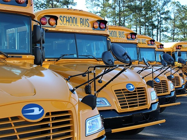 The School District of Holmen in Wisconsin recently put six Blue Bird Vision propane buses into operation. The buses have saved the district about $12,000 in fuel and maintenance costs over the 2017-18 school year. File photo of Blue Bird Vision propane buses