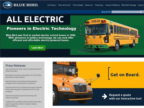 Blue Bird's new website includes updated information, brochure downloads, and an interactive quote request form.