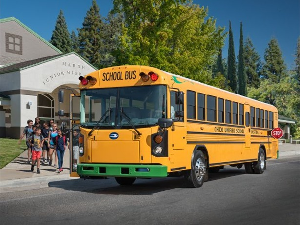 The West Fargo (N.D.) Public Schools board of directors provided $314,200 in funding for the district's first electric-powered school bus. Shown here is a Blue Bird Type D bus recently received by a California school district.