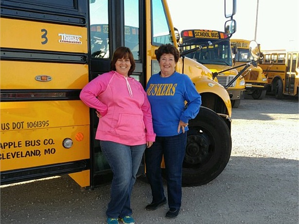 Brenda Thoman, shown right, with Sherri Veach, terminal manager for Apple Bus Co., drove a bus for Lafayette County (Mo.) C-1 School District for 52 years. She officially retired on Nov. 18.