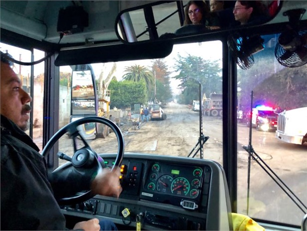 Carpinteria (Calif.) Unified School District school bus drivers recently transported critical personnel for their district and the area, traversing a wet, muddy section of Highway 101 that was closed due to mudslides. Shown here is driver Jose Ochoa.