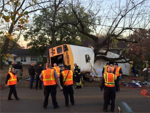 The school bus driver in a single-vehicle fatal crash in Chattanooga, Tennessee, faces multiple charges. Photo courtesy Chattanooga Fire Department