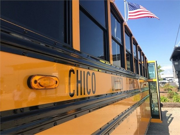 Chico Unified School District's first electric bus stands ready for service at the bus yard. Photo courtesy Robin Epley