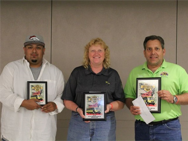 Seen here are the top finishers in the conventional category of Colorado's school bus roadeo championship, from left: Josh Gonzales (3rd), Wanda van Zonneveld (2nd), and Robert Leach (1st).