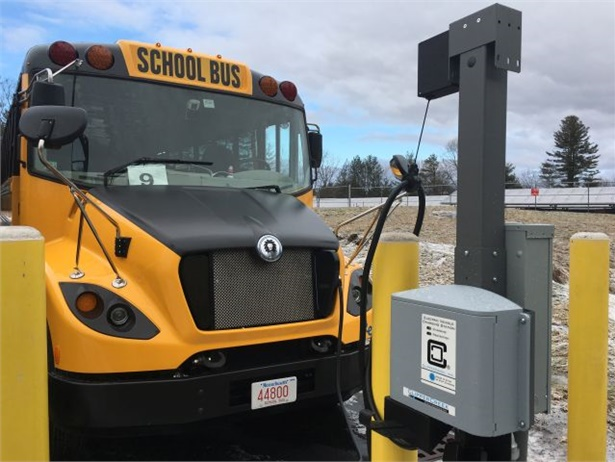 Concord (Mass.) Public Schools' eLion has been embraced by the drivers, students, and the community, which is very concerned with environmental issues. It is shown here at the district's new charging station. Photo courtesy of Brian Foulds