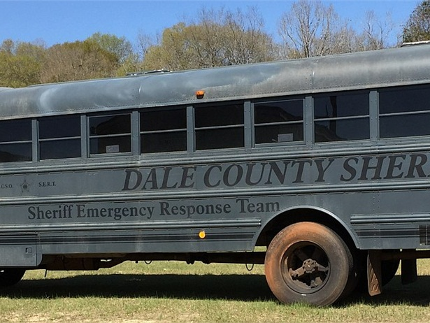 Dale County (Ala.) Schools donated the bus shown here to the Dale County Sheriff's Office for use in safety training exercises. This bus was also used as a tactical headquarters during the hostage crisis.