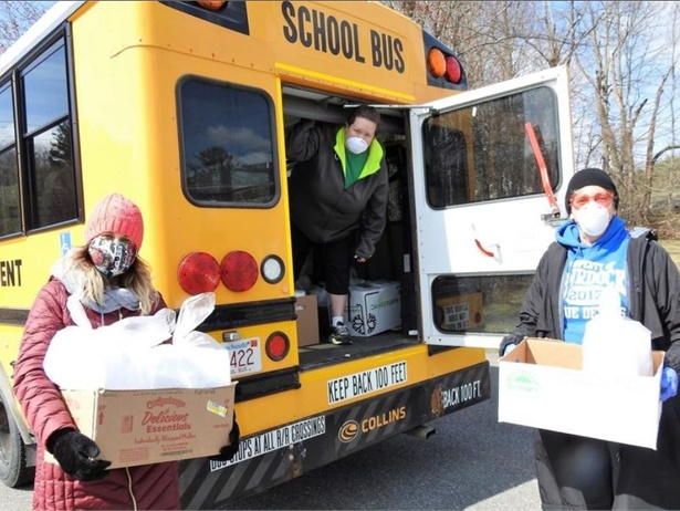 Shown here are bus drivers from First Student's Winchendon, Mass., location delivering meals for Winchendon Public Schools. Photo courtesy First Student