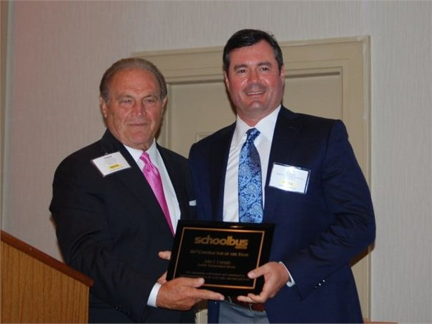 SBF is accepting nominations for the 2018 Contractor of the Year award. Seen here is the 2017 recipient, John Corrado (right) of Suffolk Transportation, with SBF's Frank Di Giacomo.