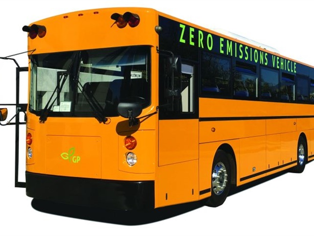 Electric bus manufacturer GreenPower Motor Co. has received an order for a total of 100 electric buses, 10 of which are Synapse school buses, like the one shown here, from Creative Bus Sales.