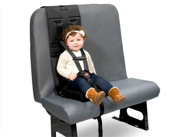 The C.E. White PCR, a five-point restraint system, attaches to school bus seats and accommodates children weighing 20 to 90 pounds.