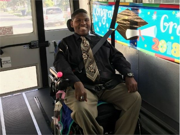 Jennifer Collins, a driver for Hillsborough County Public Schools, decked out her lift-equipped bus for Darian, a graduating high school student.