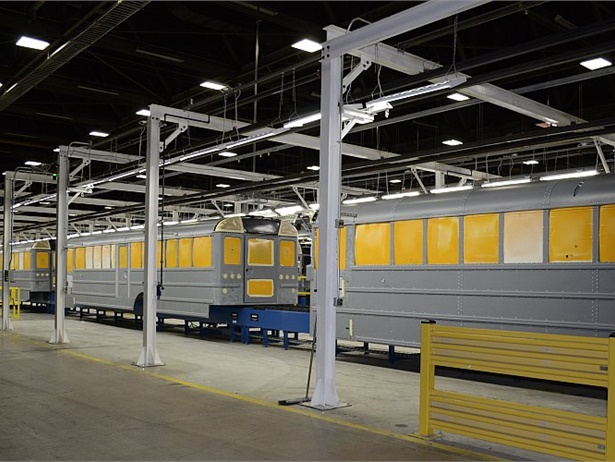 IC Bus has invested $17 million in lean manufacturing at its Tulsa, Oklahoma-based plant to streamline production. Here, school buses wait in the pre-paint work station.