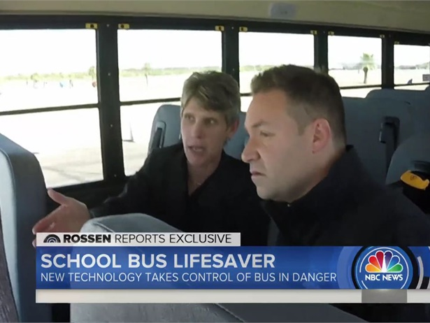 """Trish Reed, vice president and general manager of IC Bus, walked investigative journalist Jeff Rossen through how new safety technologies can keep school buses out of danger on the """"Today"""" show. Shown here is a screen shot from the show."""