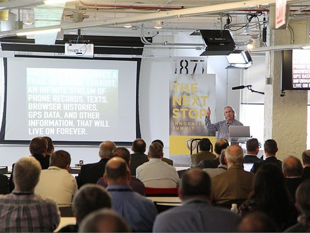 Participants at The Next Stop Innovation Summit included innovators from outside the industry who talked about trends that could affect the school bus industry. Shown here is Howard Tullman, CEO of 1871, a hub that supports more than 400 digital startups.