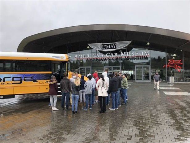 IC Bus demonstrated its concept electric school bus, the chargE, at the LeMay America's Car Museum in Tacoma, washington, to high school students.