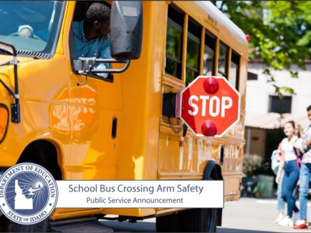 """The Idaho State Department of Education's PSA asks motorists to be engaged and """"watch for school buses as they pick up and drop off kids."""""""