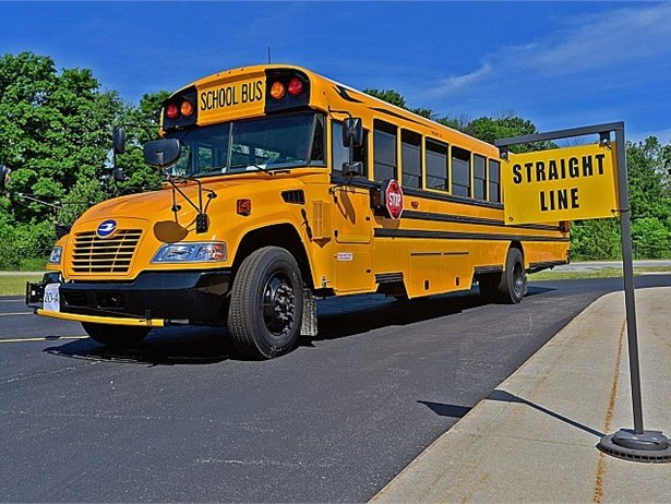 The School Transportation Association of Indiana recently held its annual School Bus Safety Competition. Here, a contestant competes in the general education competition skills test.