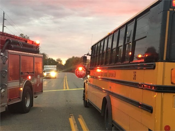 The Indiana driver who allegedly passed a school bus and hit and killed three students told investigators that she didn't see the bus (shown here) or the students until it was too late. Photo courtesy Indiana State Police