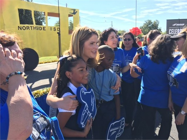 Jenna Bush Hager poses with students at a propane school bus event at Northside ISD in Texas. Photo by Kevin Neafie