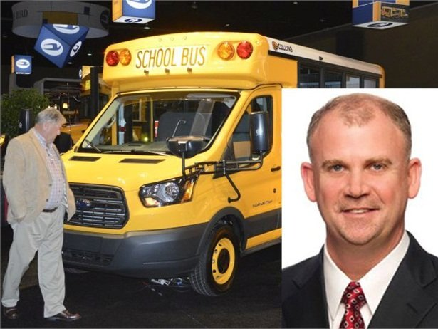 John Walsh (inset) previously served as VP of sales for REV Bus, which includes Type A school bus manufacturer Collins Bus. Seen here is the new Collins Ford Transit.