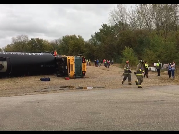 A training exercise for the School District of La Crosse (Wis.) showed transportation staff and students the importance of school bus evacuation training. Photo courtesy Michael Wohlfert