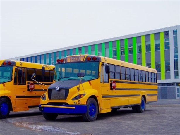 Four school districts in Massachusetts were each awarded grants of up to $350,000 for electric Type C school buses and chargers. Pictured is the Lion Bus eLion.