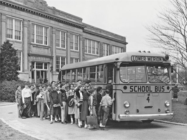 Readers can help <I>SBF</i> celebrate its 60th anniversary by contributing a vintage photo. Seen here is a Lower Merion School District (Pa.) bus and students circa 1950s. Photo courtesy Ted Goldsborough