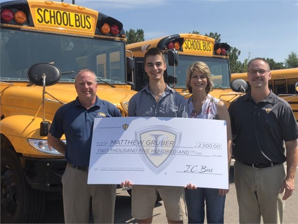 The annual IC Bus Scholarships go to family members of dealer employees. This year, Matthew Gruber won the Holly Hoglund Klein Scholarship.