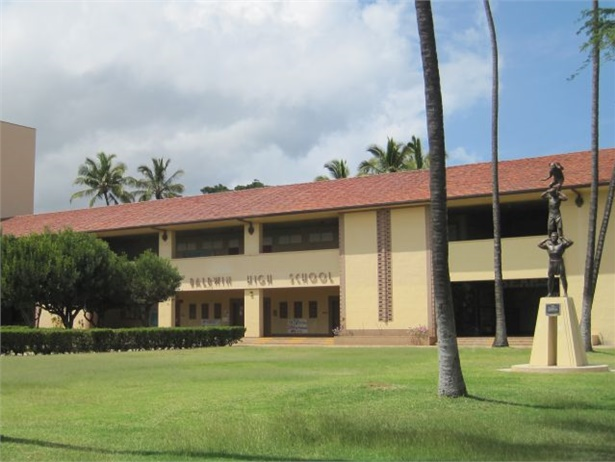 The awarding of new school bus contracts on Maui and Kauai culminates the Hawaii DOE's Get on Board initiative. Seen here is Baldwin High School on Maui.
