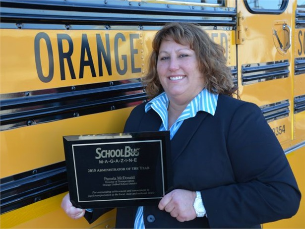 Last year's SBF Administrator of the Year award went to Pam McDonald of Orange (Calif.) Unified School District.