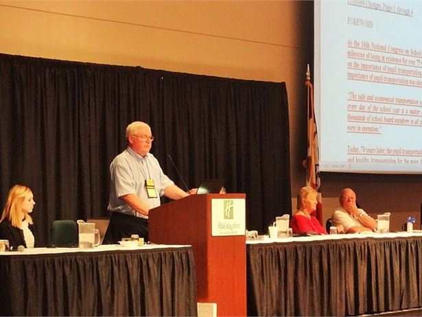 An electronic version of the National School Transportation Specifications and Procedures document with revisions highlighted is available for the first time. Shown here, Terry Voy, the congress on-site chair, speaks at the May 2015 congress. Photo by Max Christensen