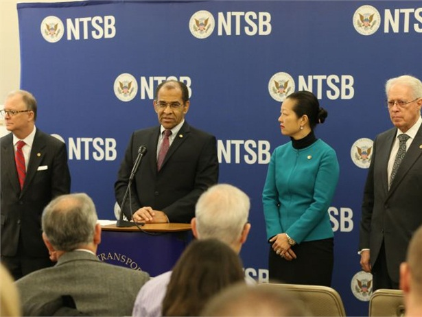 NTSB Chairman Christopher Hart (at podium) and other board members unveiled the agency's 2016 Most Wanted List of transportation safety improvements on Wednesday. Photo courtesy NTSB