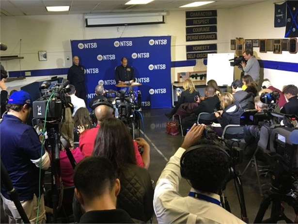 Operators and associations have offered a range of reactions to NTSB's school bus crash meeting on Tuesday. Seen here is an NTSB press briefing after the 2016 Chattanooga crash. Photo courtesy NTSB